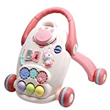 Ybriefbag-Toys Baby Three-in-one Activity Walker Baby Walker Trolley Toy Baby Child 6-18 Month Adjustable Walker (Color : Pink, Size : 454746CM)