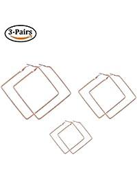 Square Hoop Earrings 3 Pairs Geometric Hoop Earrings Dangle Earring Set For Women Girls