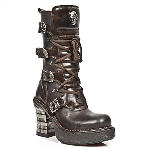 New Rock Boots M.8374-c2 Gotico Hardrock Punk Damen Highheel Stiefel Braun