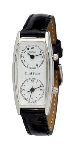 (Gotham Women's Silver-Tone Dual Time Zone Leather Strap Watch #)