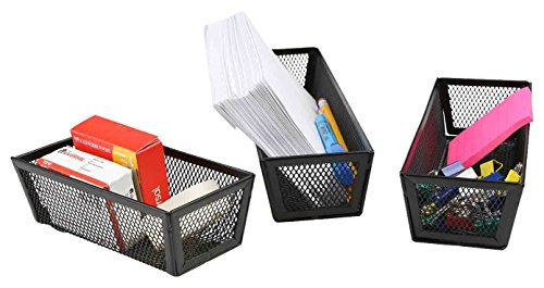 Mind Reader Desk Supplies Organizer 3 Piece Set, Pencil Holder, Document for Letters, Paper Clips,Thumb Tack, Tape, Memo Holder, Black Mesh