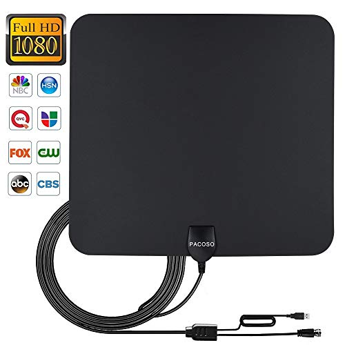 [2019 Latest] TV Antenna Indoor, Digital Amplified HDTV Antennas 4K 1080P HD VHF UHF for Local Channels 50-90 Miles Range with Built-in Signal Amplifier Support All television-13ft Coax Cable