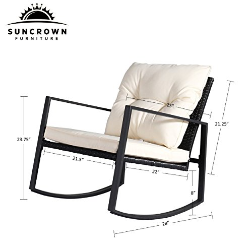 Suncrown Outdoor 3-Piece Rocking Wicker Bistro Set: Black Wicker Furniture - Two Chairs with Glass Coffee Table (White Cushion) by Suncrown (Image #3)