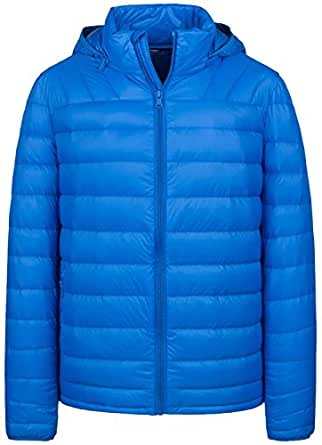 Wantdo Men's Packable Lightweight Down Jacket with Removable Hood Sapphire Blue,Small