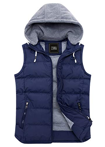 ZSHOW Women's Winter Padded Vest Removable Hooded Outwear Jacket US 12 Navy ()