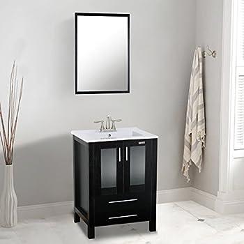 Eclife Modern Bathroom Vanity Sink Combo With Overflow Ceramic - 24 contemporary bathroom vanity