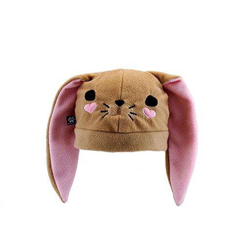 Pawstar Bynny Ears Hat Bunny Loves You Fleece Embroidered Kawaii Animal Face - Butterscotch