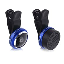 Geekercity Universal Detachable 235 Degree Super Fisheye Fish Eye Selfie Mobile Phone Camera Lens Clip On Kit for iPhone 6 Plus 4 4S 5 5C 5S; Samsung Galaxy S4 S5 S6 S6 Edge Note 4 3 2; HTC ONE M9 M8 Desire 510, Sony Xperia Z3 Z2; LG G4 G3 G2, Motorola Moto X G and other Smart Phones Tablets (Blue)