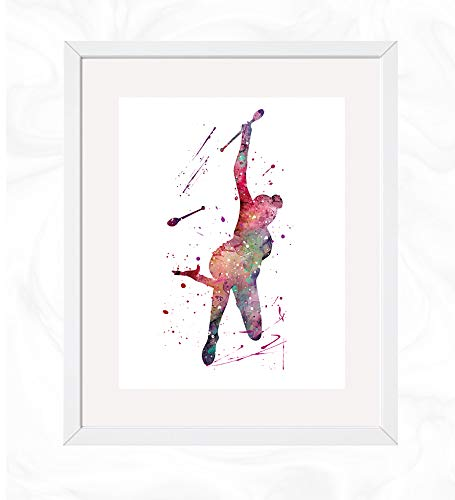 Rhythmic Gymnastics Clubs Prints, Woman Gymnastics Watercolor, Nursery Wall Poster, Holiday Gift, Kids and Children Artworks, Digital Illustration Art