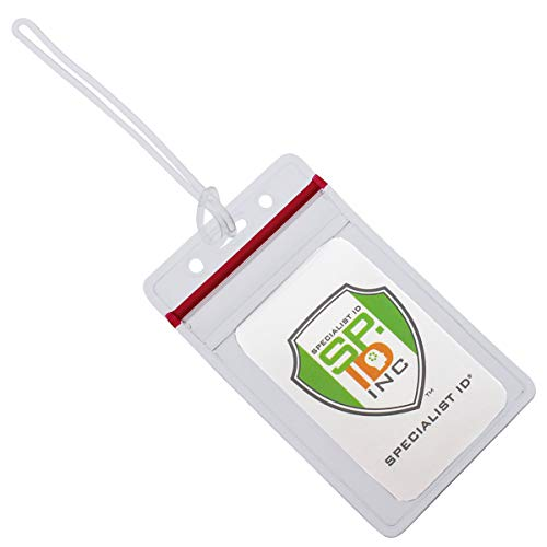 - 25 Pack - RESEALABLE Clear Plastic Luggage Identification Tags with Loops Included - Business Card or Photo Insert Bag Tags - Great for Travel and Student ID's by Specialist ID