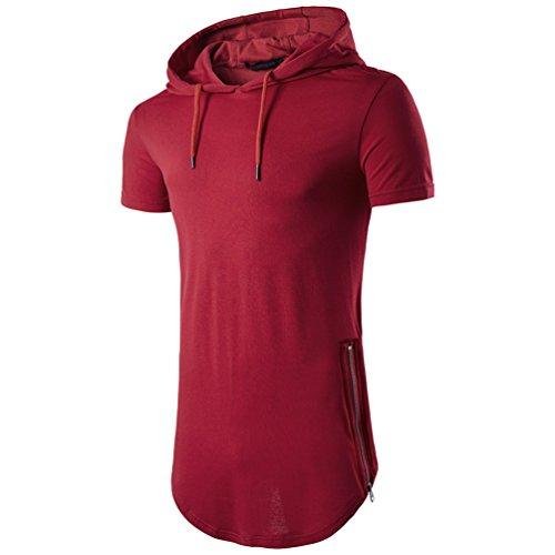 shirt Longue Slim Chengyang À T Tee Section Rouge Fit Capuche Homme Manche Shirt Courte wIqwg0xB5