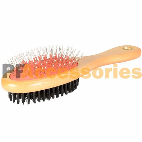 Double Side Bristle & Pin Pet Dog Cat Hair Grooming Brush Fur Shedding Tool - Ez Leather Catch
