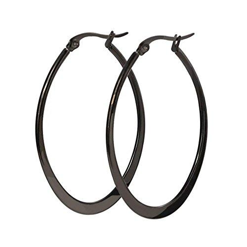 JSEA 4 Colors Stainless Steel Hoop Earrings Oval Hypoallergenic Earrings Big Nickle Free