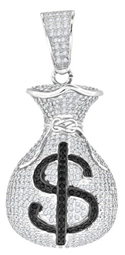 Saris and Things 925 Sterling Silver Mens Black Cubic Zirconia CZ Dollar Sign Money Bag Charm Pendant