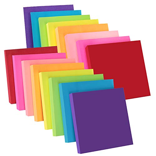ZCZN 8 Bright Color Sticky Notes,3 x 3 in,16 Pads/Pack,100 Sheets/Pad,Self-Sticky Note ()