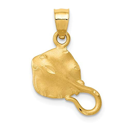 Mireval 14k Yellow Gold Stingray Pendant (20 x 18 mm) ()