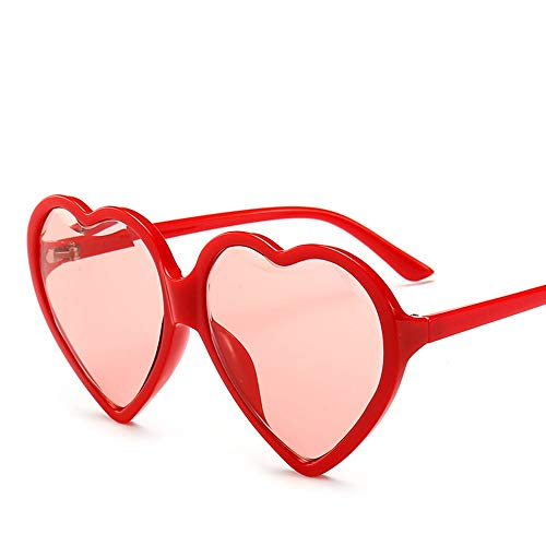 (Glasses Big Box Trend Love Sunglasses Black Red Yellow Sunglasses Female Diamond Cut Edge Heart Type Ladies Sunglasses, Fashion Accessories (Color : Red))