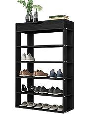 Soges 5-Tier Shoe Rack 29.5inch Wooden Shoe Storage Shelf Shoe Organizer for Entryway,Teak Shoe Rack Storage Organizer,Black