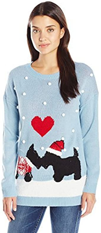 Notations Women's Schnauzer Puppy Love Ugly Christmas Sweater with 3D Snow