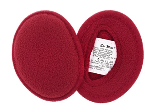 Ear Mitts Bandless Ear Muffs For Men & Women, Red Fleece Ear Warmers, Small by Ear Mitts