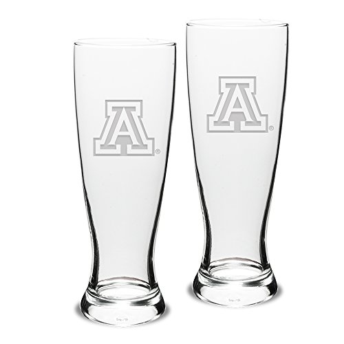 NCAA Arizona Wildcats Adult Set of 2 - 23 oz University Pilsners Deep Etch Engraved, One Size, Clear