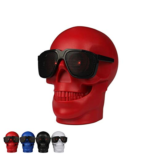 NSST Skull Bluetooth Speaker Power Bank USB TF Wireless Super Bass Stereo Sound Cool Skull Artwork Speaker with Wonderful Eyes Light for Home Party/Office/Business/Bedroom/Outdoor,Red ()