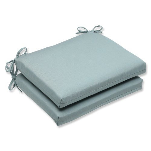 Pillow Perfect Indoor/Outdoor Squared Corners Seat Cushion with Sunbrella Canvas Spa Fabric, Set of 2, 18.5 in. L X 16 in. W X 3 in. D, Blue
