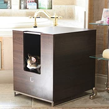 Amazoncom Modern Cat Designs Litter Box Hider Brown Cat - Litter box in bathroom for bathroom decor ideas