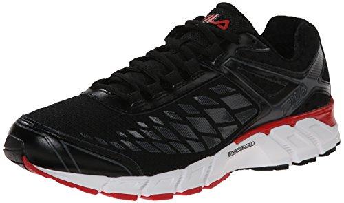 Fila Men's Dashtech Energized Running Shoe, Black/Dark Shadow/Red, 12 M US (Fila Coolmax Memory Foam Men)