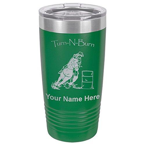 20oz Tumbler Mug, Barrel Racer Turn N Burn, Personalized Engraving Included (Green) ()