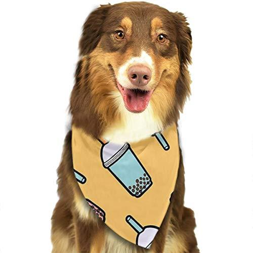 Pet Scarf Dog Bandana Bibs Triangle Head Scarfs Bubble Tea Design Accessories for Cats Baby Puppy