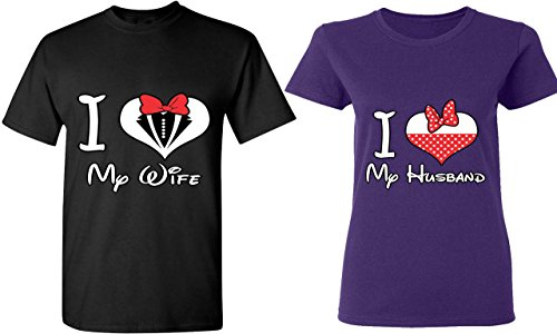 I Love My Wife & Husband - Matching Couple Shirts - His and Her T-Shirts - Tees