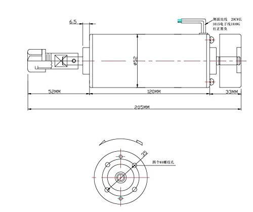 0.5KW dc motor 500w cnc spindle motor 500w for CNC Engraving Machine,with fan and ER11A collets motor spindle for engraver by BOHUA (Image #3)
