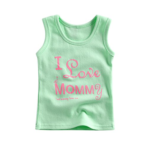 Agibaby Boys & Girls Sleeveless T-Shirt I Love Mommy(Mint)/I Love Daddy(Pink) (S(12-24months), Mint)