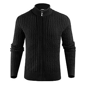 iClosam Cardigan Homme Tricoté en Maille Torsadée Hommes Rayures Nervuré Sweater Laine à col Officier avec Zippé…