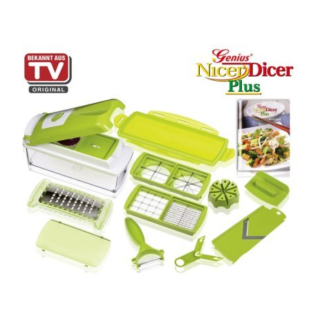 Nicer Dicer Plus by Genius | 13 pieces | Fruit vegetable slicer | Food-Chopper PRO | Mandoline | Kitchen-Cutter Dicer | Stainless Steel | As seen on TV