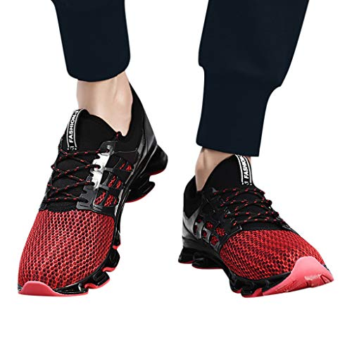 Lloopyting Couples Solid Color Casual Mesh Breathable Wear Running Shoes Outdoor Fashion Wild Mesh Sneakers Red by Lloopyting (Image #5)