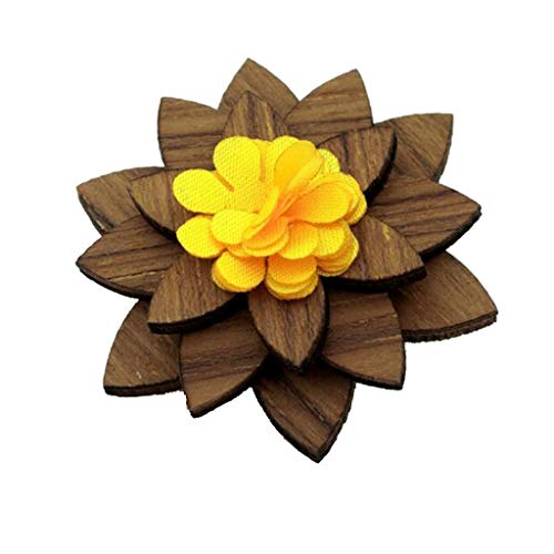 (Flower Wooden Brooch Boutonniere Pin Suit Wedding Corsage for Men Women Gift (Color - 1))