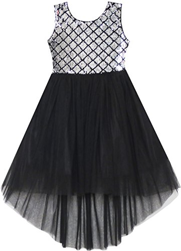 (HH85 Girls Dress Sequin Mesh Party Wedding Princess Tulle Size 14 Shining Black)