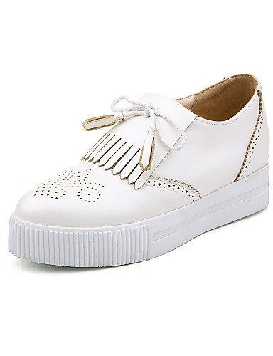 Punta Zeppa Stivali Tempo Bianco pelle Scarpe Donna gyht libero Rosso ShangYi White moda alla Zeppe Sneakers arrotondata Finta Nero wzqBBxP7