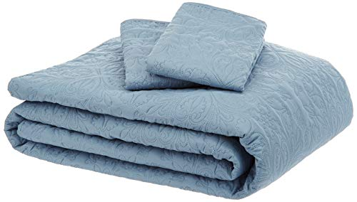 AmazonBasics Oversized Quilt Coverlet Bed Set - Full or Queen, Spa Blue Floral (Full Coverlet Bed)