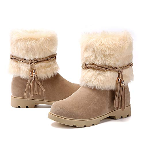 9408f96de0426 Susanny Women's Fashion Warm Short Booties Outdoor Suede Flat Waterproof  Faux Fur Snow Boots