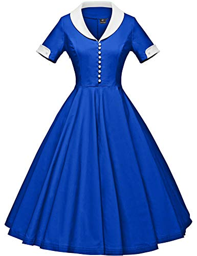 GownTown Womens 1950s Cape Collar Vintage Swing Stretchy Dresses - Spandex Vintage