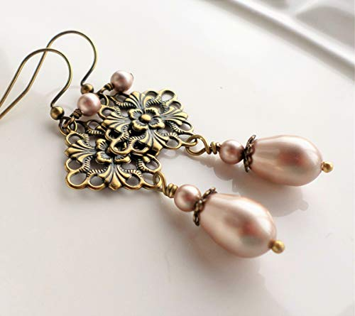 Powder Almond Champagne Swarovski Pearl Antique Brass Victorian Filigree Earrings