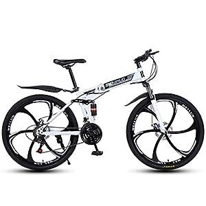 ZTYD 26″ 21-Speed Mountain Bike for Adult, Lightweight Aluminum Full Suspension Frame, Suspension Fork, Disc Brake,White,D