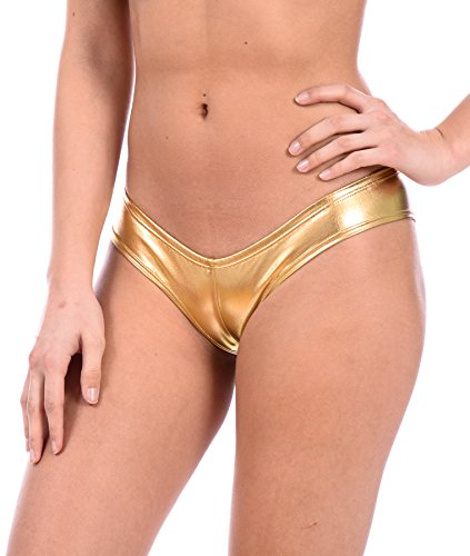 Gold Cup Thong - Women's Metallic Sexy Swimsuit Thong by Gary Majdell (Liquid Gold, X-Large)
