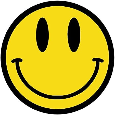 "(12 PACK) Smiley Face Emoji circle vinyl Hard Hat Helmet Decal by StickerDad - size: 2"" ROUND color: YELLOW/BLACK - Hard Hat, Helmet, Windows, Walls, Bumpers, Laptop, Lockers, etc."