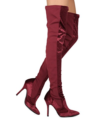 Alrisco Women Thigh High Dual Fabric Pointy Toe OTK Stiletto Boot - Costume Cosplay Party Dressy - HE90 by Mackin J Collection Wine Mix Media chdb1Wfogv