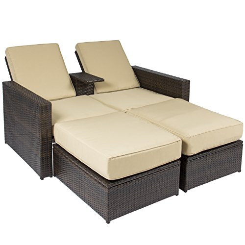Best Choice Products Outdoor 3pc Rattan Wicker Patio Love Seat Lounge Chair Furniture Set Multi Purpose