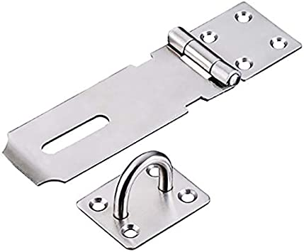 YouCY Padlock Staple Safety Hasp Door Clasp Gate Lock Latch Stainless Steel Safety Door Clasp Gate Lock Latchs,4 Inches